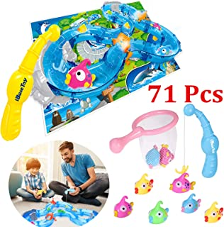 iBaseToy Fishing Game Toys for Toddlers, Colorful Floating Bath Toys with Water Track, Fishes, 2 Fish Poles and More - Bathtub, Yard or Pool Party Fish Toy Game Set for Kids Boys Girls