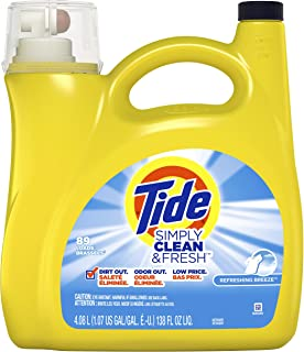 Tide Simply Clean & Fresh Liquid Laundry Detergent, Daybreak Fresh, 89 Loads 138 fl oz