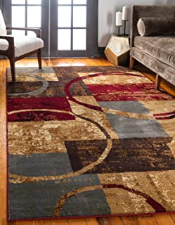 Unique Loom Barista Collection Modern Circles Rustic Warm Multi Area Rug (5' 0 x 8' 0)