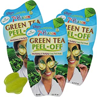 7th Heaven Green Tea Peel-Off Mask, Revitalizing and Purifying Easy Peel Mask with Green Tea Extract, Assist with Upliftin...
