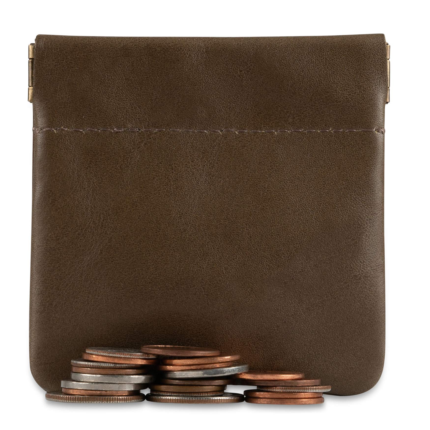 Pouch Made IN U.S.A Genuine Leather Squeeze Coin Purse Change Holder For Men//Woman Size 3.5 X 3.5