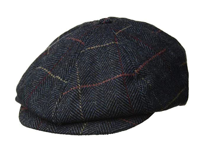 1940s Mens Hat Styles and History Brixton Brood Snap Cap Navy Plaid Caps $39.00 AT vintagedancer.com