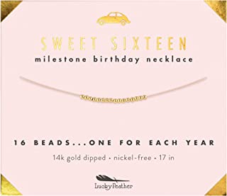 Sweet 16 Milestone 14K Gold Dipped Beads Necklace on 17
