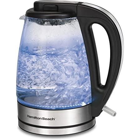Hamilton Beach Glass Electric Tea Kettle, Water Boiler & Heater, 1.7 L, Cordless, LED Indicator, Built-In Mesh Filter, Auto-Shutoff & Boil-Dry Protection (40864), Clear