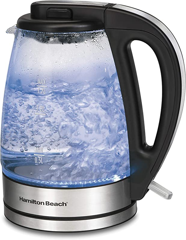 Hamilton Beach 1 7 Liter Electric Glass Kettle For Tea And Hot Water Cordless LED Indicator Built In Mesh Filter Auto Shutoff And Boil Dry Protection 40864