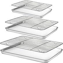 "Baking Sheet with Rack Set [3 Sheets+3 Racks], HUSHIDA Stainless Steel Cookie Sheets Baking Pan with Cooling Rack(16""/12.8..."