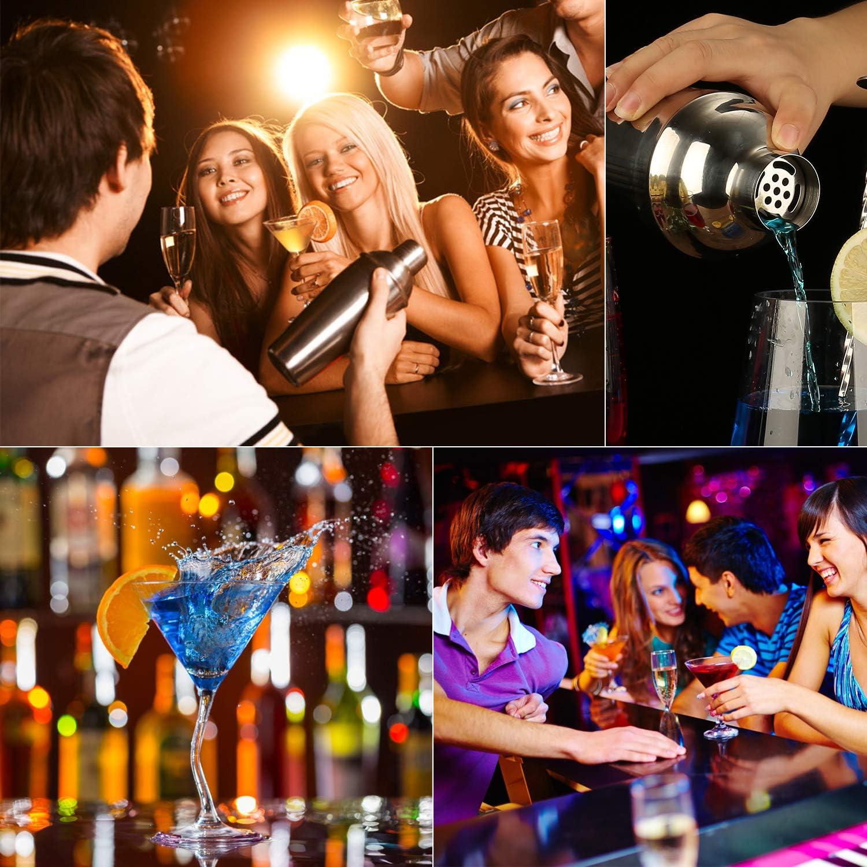 16 pi/èces//7 pi/èces Kit barman avec//sans support en bambou Eco Acier inoxydable Bar Bar Tool Set Kit de bricolage de style scandinave 7pcs Kit de fabrication de cocktails