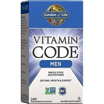 Garden of Life Vitamin Code Whole Food Multivitamin for Men - 240 Capsules, Vitamins for Men, Fruit Veggie Blend and Probiotics for Energy, Heart, Prostate Health, Vegetarian Mens Multivitamins