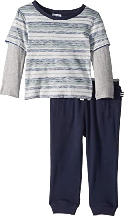 Reverse Stripe Long Sleeve Tee Set (Infant)