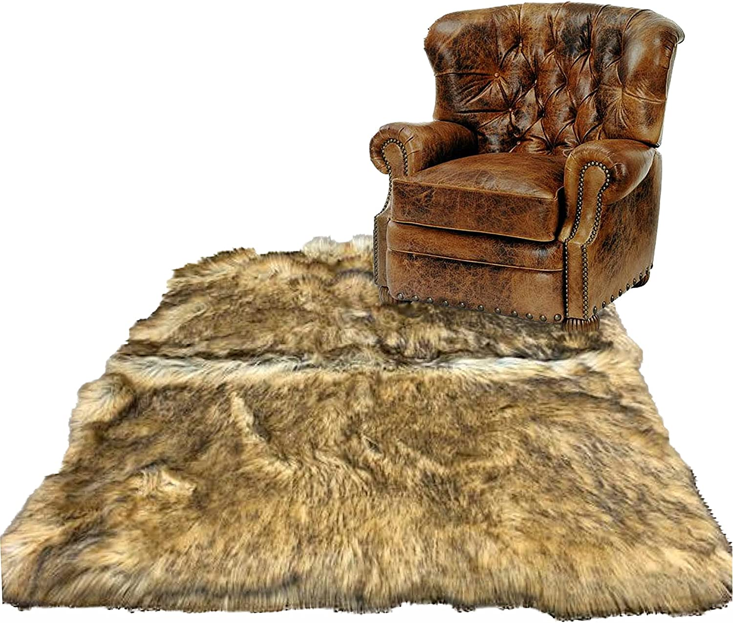 Fur Accents Faux Golden Tan San Diego Mall Skin Rug Wolf Plush Realistic New color