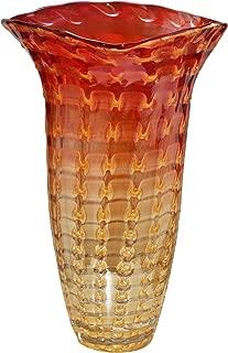 Dale Tiffany Titian Ruffle Hand Blown Art Glass Vase Amber