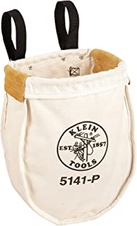 Klein Tools 5141P Extra-Large Canvas Utility Bag Made of Heavy No. 8 Natural Canvas, Reinforced with Tough Tanned Leather