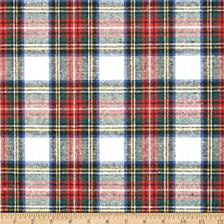 Spechler-Vogel Washable Wool Plaid Cream/Red/Blue Fabric By The Yard