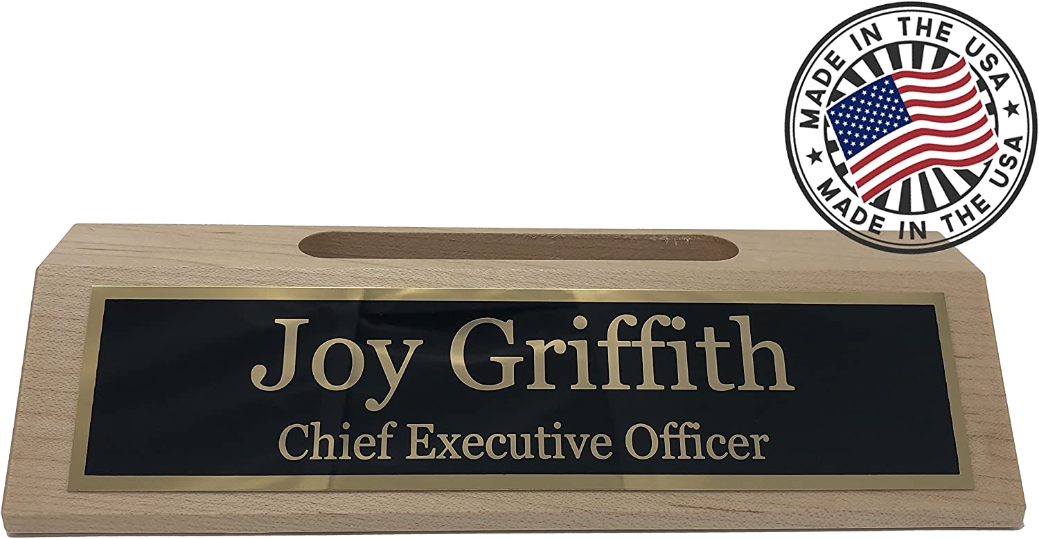 Personalized Business Desk Name Plate with Card Holder   Made in USA Maple  Wood