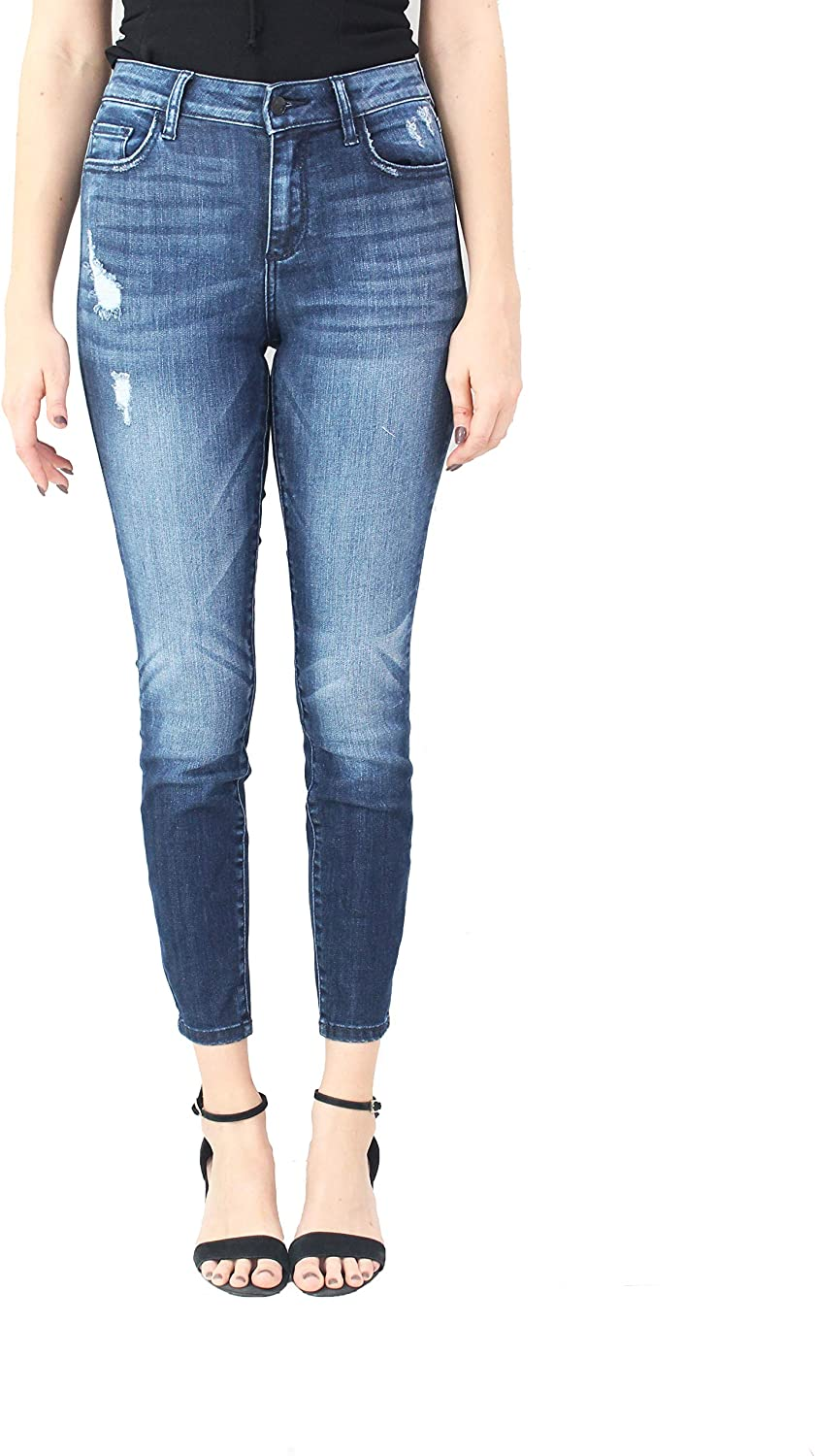 Cello Jeans Women Mid Rise Distress Crop Skinny Jeans