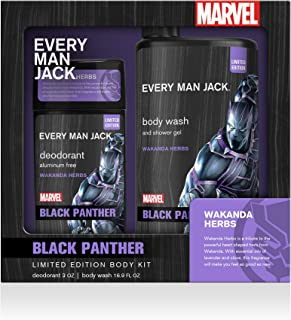 Every Man Jack Body Kit - Marvel Black Panther | 16.9-ounce Body Wash + 3-ounce Deodorant | Naturally Derived, Parabens-fr...