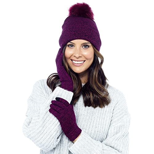 65b5074f9f2 Foxbury Ladies Bobble Hat   Touch Screen Gloves Set