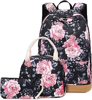 Teens Backpack School Bookbag Set Grils Kids Schoolbag with Insulation Lunch Bag (Floral - Black T018)