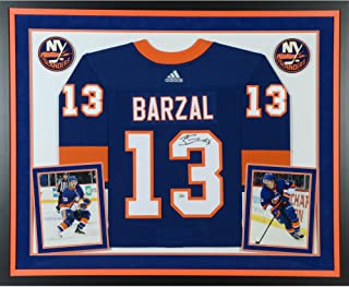 Mathew Barzal New York Islanders Deluxe Framed Autographed Blue Adidas Authentic Jersey - Fanatics Authentic Certified
