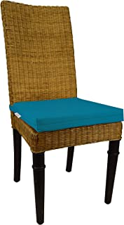 RSH Décor Indoor Outdoor Soho Rattan Wicker Banana Leaf Seagrass Parson Chair Trapezoid Foam Seat Cushion w/Strap - from Sunbrella Spectrum Peacock (14