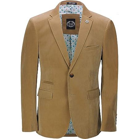 Xposed Mens Soft Corduroy Blazer Coat Vintage Retro Tailored Suit Jacket UK[BLZ-MATTHEW-CREAM-50,Blazer-Tan,Chest UK/US 50 EU 60]