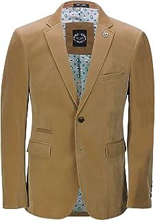 Xposed Mens Soft Corduroy Blazer Coat Vintage Retro Tailored Suit Jacket UK[BLZ-MATTHEW-CREAM-50,Blazer-Tan,Chest UK/US 50...