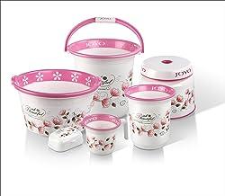 Joyo Better Home Small 6 Piece Polypropylene Bathroom Set, Pink (JBHBS6PCSSPTDPINK)