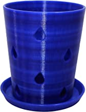 """Orchid Pot and Tray, Translucent Blue, 4.5"""""""