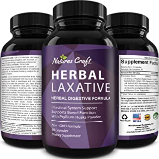 Natures Craft's Herbal Laxative Capsules with Probiotics – Natural Colon Detox Digestive Support System Clean – Psyllium H...