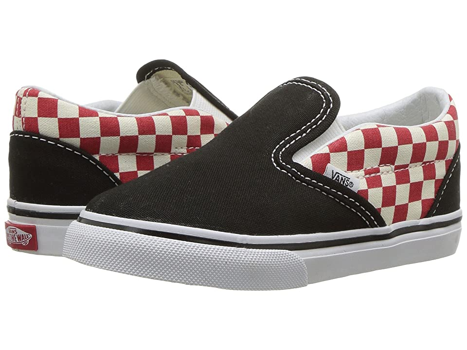 Vans Kids Classic Slip-On (Toddler) ((Checkerboard) Black/Red) Boys Shoes