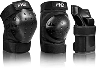 PHZ Kids/Adults 3 in 1 Skateboard Protective Gear Set Knee Pads Elbow Pads Wrist Guards for Rollerblading Skateboard Cycling Skating Bike Scooter