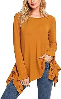 Women's Loose Scoop Neck Long Sleeve Asymmetric Ruffle Hem Knit Top