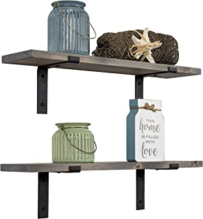 Imperative Décor Rustic Wood Floating Shelves Wall Mounted Storage Shelf with L Brackets USA Handmade | Set of 2 (24 x 5.5in) (Grey)