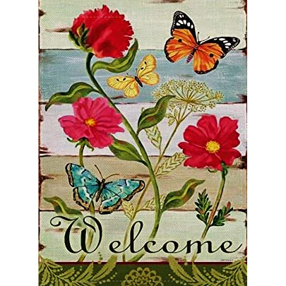 Selmad Home Decorative Vintage Flower Small Garden Flag Double Sided Floral Burlap Welcome Quotes Sunflower Butterfly House Yard Decoration Daisy Seasonal Outdoor Décor Flag 12 5 X 18 Spring Summer