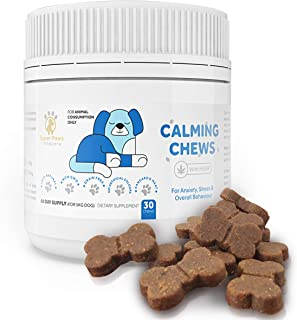 Super Paws Vitacare Dog Anxiety Relief Chews & Dog Stress Relief Supplement - Natural Formula | Natural Dog Treats & Calming Bites with Hemp Seed, L-tryptophan and Thiamine | 30 Chews - 60 Days Supply