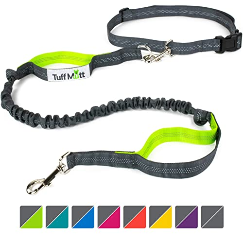Petter Hands Free Dog Leash for Running Walking Hiking Up to 150 Lb Large Breeds Adjustable Waist Belt Fits up to 42 Waist Durable Dual-Handle Bungee Leash Reflective Stitching