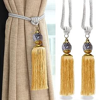 goowrom Crystal Beaded Curtain Tie Back 2pcs Tassel Tie Backs for Curtain Beautiful Curtain Holdback Rope(Gold)