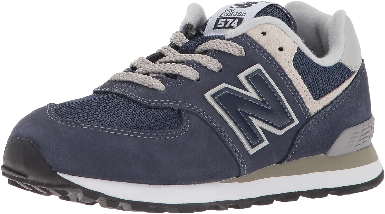 depot New Balance Kids' 574 V1 Evergreen Grey Sneaker Time sale 4 Lace-Up Navy