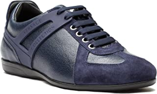 Versace Collection Men's Leather Suede Low Top Sneakers Shoes Blue US 7 IT 40