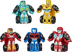 Playskool Heroes Transformers Rescue Bots Academy Mini Bot Racers Converting Robot Toy 5-Pack, 2-Inch Collectible Toy Cars (Amazon Exclusive)