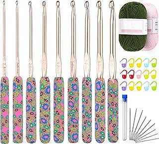 Coopay Kit de Crochets Floraux Ergonomiques avec Poignée Souple pour Débutants et Adultes,Comprend 9 Aiguilles à Crochets ...