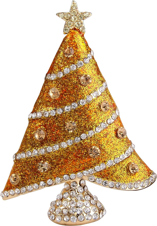 EVER FAITH Austrian Crystal Enamel Shining Star Christmas Tree Brooch