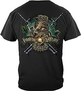 Marine Corps T-Shirt Double Flag Gold Globe Marine Corps T-Shirt MM2153
