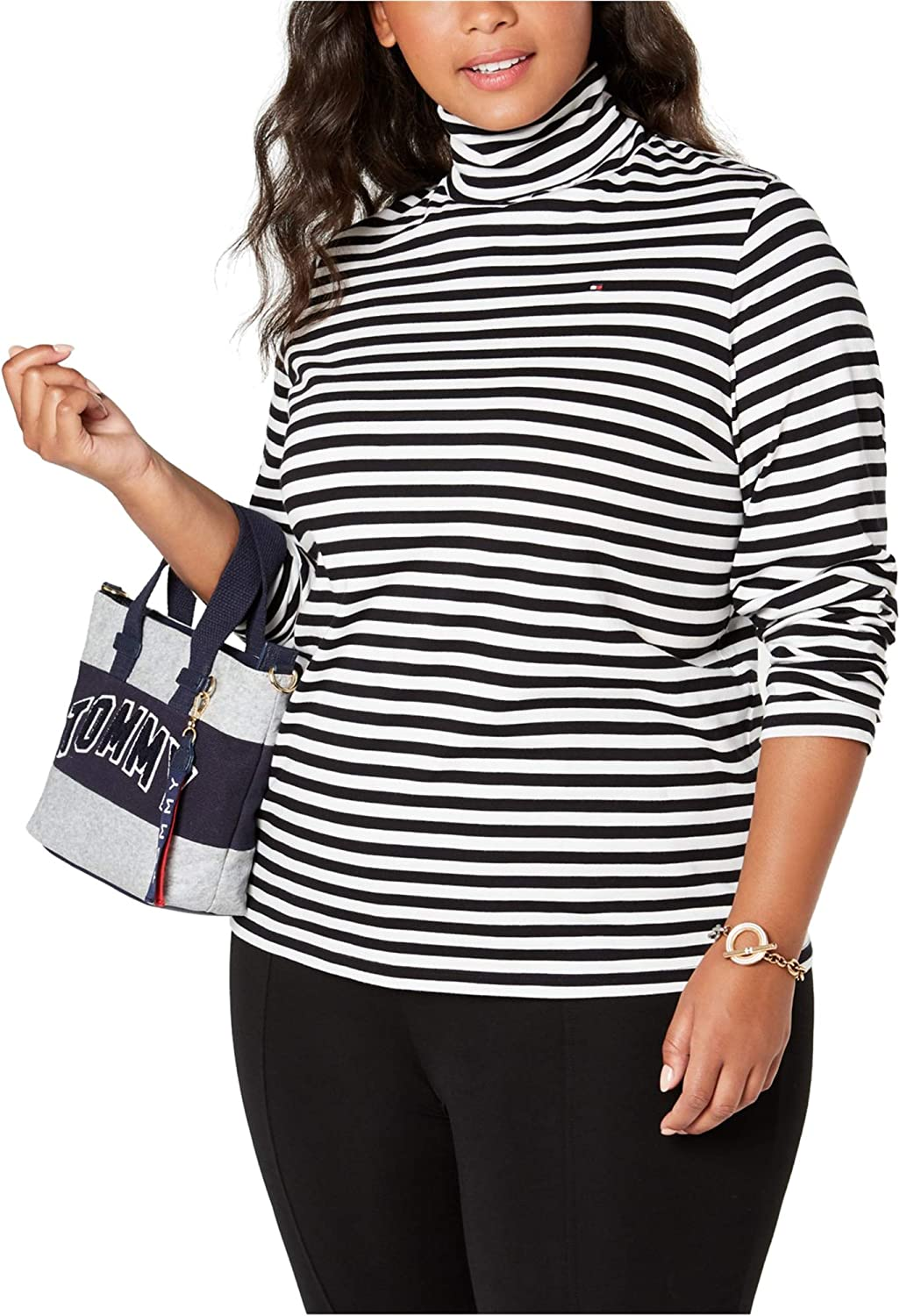 Tommy Hilfiger Womens Striped Pullover Blouse