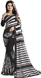 Jaanvi fashion Women's Marble Chiffon Printed Saree with Lace (sapna-1006-black)