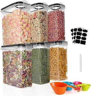 GoMaihe Boite de Rangement Cuisine Lot de 6×2.5L, Bocaux Hermetiques Alimentaires en Plastique Scellée avec Couvercle, Pou...