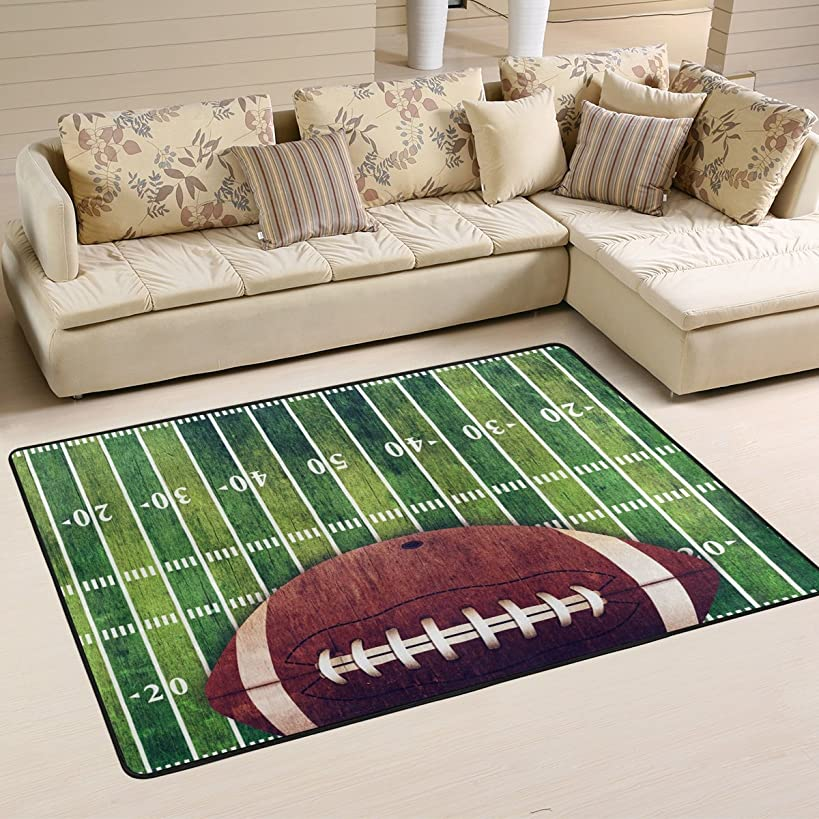 Naanle Sport Area Rug 2'x3', American Football Field Ball Polyester Area Rug Mat Living Dining Dorm Room Bedroom Home Decorative
