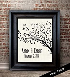 12th Year Anniversary Gift For Her   12 Year Anniversary Gift for Wife   12th Wedding Anniversary Gift Ideas   Tree Fabric Print   Linen Fabric Print