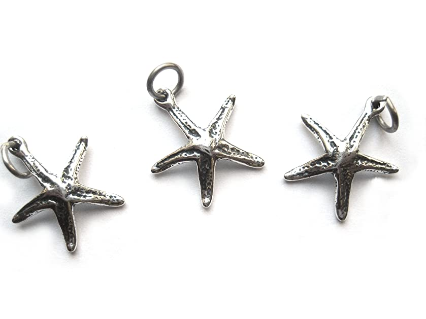 3 Qty. Large Starfish Charm .925 Sterling Silver by JensFindings