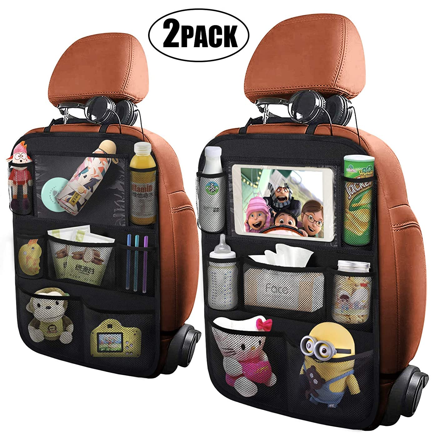 Car Backseat Organizer with Touch Screen Tablet Holder 7 Storage Pockets Kick Mats Seat Back Protectors for Kids and Toddlers Premium Vehicle Travel Accessories (2 Pack)